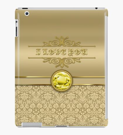 Love Citrine Yellow Gemstone Metallic Gold Damask iPad Case/Skin