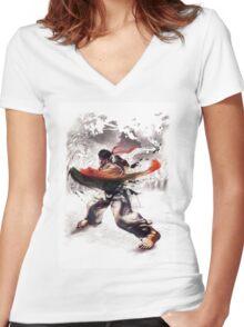 Ryu super hook - street fighter Women's Fitted V-Neck T-Shirt