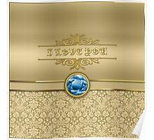 Love Sapphire Blue Gemstone Metallic Gold Damask Poster