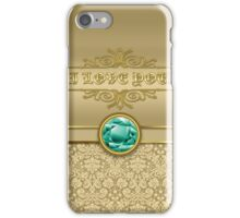Love Emerald Green Gemstone Metallic Gold Damask iPhone Case/Skin