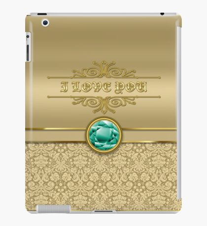 Love Emerald Green Gemstone Metallic Gold Damask iPad Case/Skin