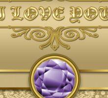 Love Amethyst Gemstone Metallic Shiny Gold Damask Valentine Sticker