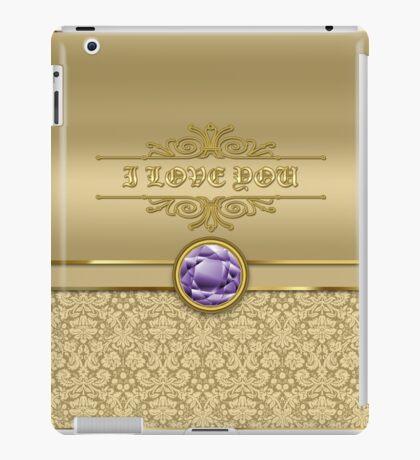 Love Amethyst Gemstone Metallic Shiny Gold Damask Valentine iPad Case/Skin