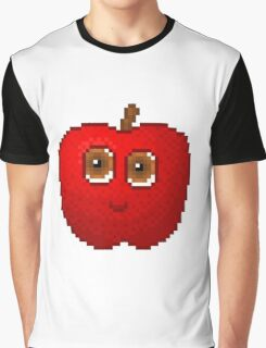 Apple Pixel Smile - White Background Graphic T-Shirt