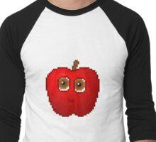 Apple Pixel Smile - White Background Men's Baseball ¾ T-Shirt