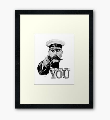 World War One, Lord Kitchener, WW1, Your Country needs you! Recruitment Poster Framed Print