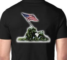 American Flag, America, USA, Raising the Colours on Iwo Jima WW2, on BLACK Unisex T-Shirt