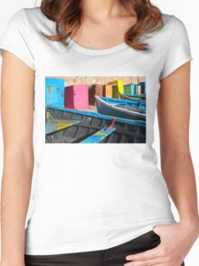 Vintage fishing boats in Essaouira, Morocco Women's Fitted Scoop T-Shirt