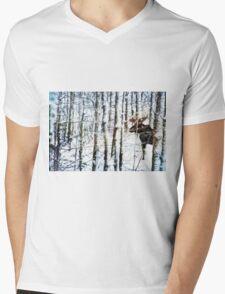 Painted Moose Mens V-Neck T-Shirt