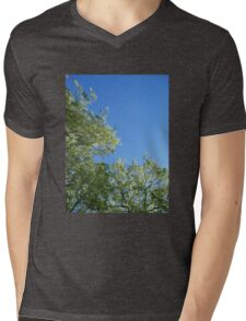 Leaf-Framed Sky Mens V-Neck T-Shirt