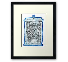 TARDIS Quotes - Doctor Who Framed Print