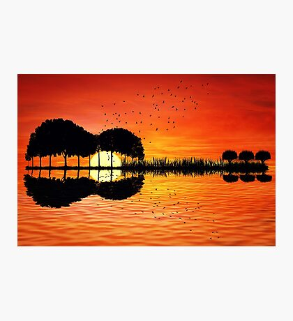 guitar island sunset Photographic Print