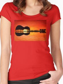 guitar island sunset Women's Fitted Scoop T-Shirt