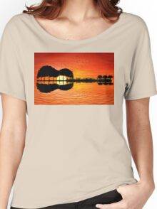 guitar island sunset Women's Relaxed Fit T-Shirt