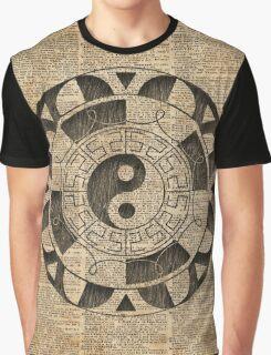 Yin And Yang Symbol Taijitu Mandala Vintage Dictionary Art Graphic T-Shirt