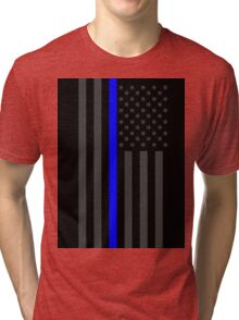 The Symbolic Thin Blue Line on American Flag Tri-blend T-Shirt