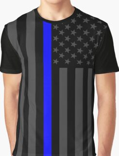 The Symbolic Thin Blue Line on American Flag Graphic T-Shirt