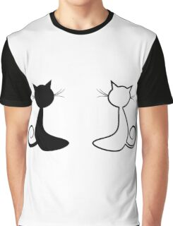 Black and White Cat  Graphic T-Shirt