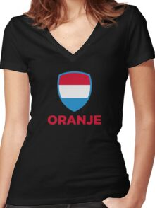 National Flag of Netherlands Women's Fitted V-Neck T-Shirt