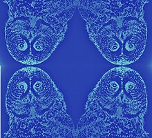 Blue Owl Mirror by emilymichaudart