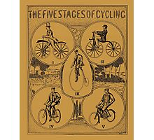 The five stages of cycling (bicycle history) Photographic Print