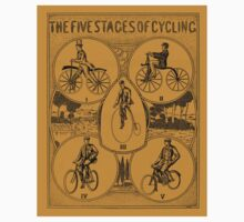 The five stages of cycling (bicycle history) Kids Tee