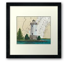 Fon Du Lac Lighthouse WI Nautical Chart Map Cathy Peek Framed Print