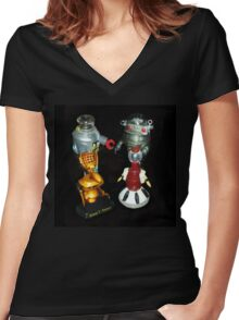 'Bots in the Bookcase Women's Fitted V-Neck T-Shirt