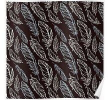 Girly Abstract Feathers Pattern Poster