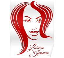 Beautiful Woman Face Emblem Poster