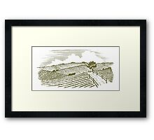 Woodcut Countryside Framed Print
