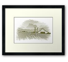 Woodcut Countryside Barn Framed Print