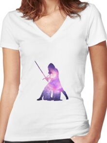 Star Wars Kylo Ren Galaxy Women's Fitted V-Neck T-Shirt