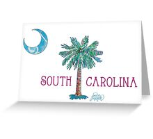 South Carolina Palmetto Tree and Moon by Jan Marvin Greeting Card