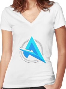 "Alia ""A"" | Logo/Design | White Background |  Women's Fitted V-Neck T-Shirt"
