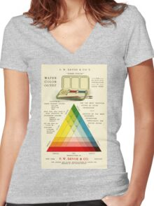 Gorgeous early 20th c. color instruction image Women's Fitted V-Neck T-Shirt