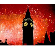 Big Ben - New Years Eve Fireworks 2010 -  2011 - HDR Photographic Print