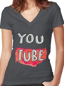 YouTube Women's Fitted V-Neck T-Shirt