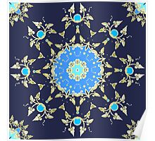 Golden and blue pattern Poster