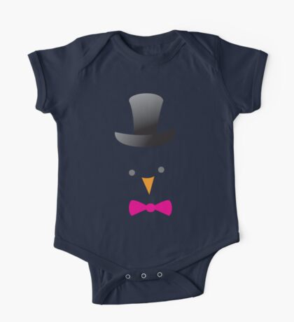 cute bird face in a top hat One Piece - Short Sleeve