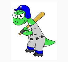 Illustration of a Brontosaurus baseball player. Unisex T-Shirt