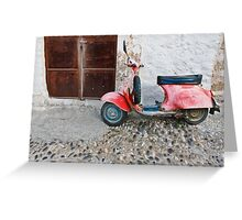 Rustic red moped Greeting Card