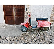 Rustic red moped Photographic Print