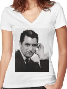 Cary Grant by John Springfield Women's Fitted V-Neck T-Shirt
