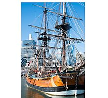 Sydney Darling Harbour and Replica Endeavour Ship Photographic Print