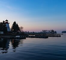 Waiting for Sunrise - Blue Hour at the Lighthouse, Infused with Soft Pink by Georgia Mizuleva