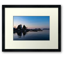 Waiting for Sunrise - Blue Hour at the Lighthouse, Infused with Soft Pink Framed Print