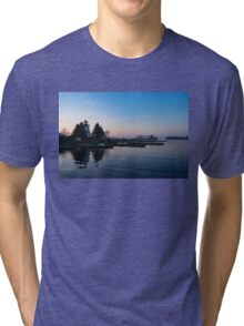 Waiting for Sunrise - Blue Hour at the Lighthouse, Infused with Soft Pink Tri-blend T-Shirt