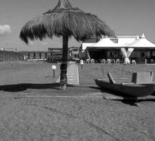 Ostia seafront: beach cabins umbrella and boat Sticker