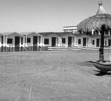 Ostia seafront: beach cabins umbrella boat Sticker